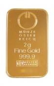 Zlatý slitek Münze Östereich 2 gramy