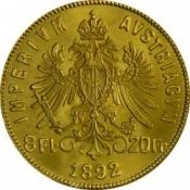 Zlatá mince Osmizlatník Františka Josefa I.  8 Gulden 1892 (novoražba)