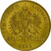 Zlatá mince Čtyřzlatník Františka Josefa I. 4 Gulden 1892 (novoražba)
