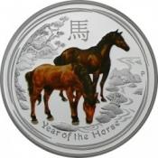Stříbrná mince Rok koně kolorovaná 1 Oz