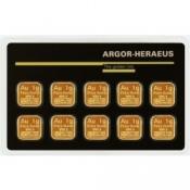 Zlaté slitky Argor Heraeus Multicard 10 x 1 gram