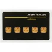 Zlaté slitky Argor Heraeus Multicard 5 x 1 gram
