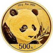 Zlatá mince Panda 30 gramů 2018
