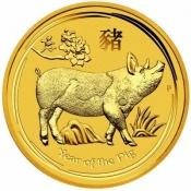 Zlatá mince Rok vepře, Lunární serie II. 1/4 oz 2019
