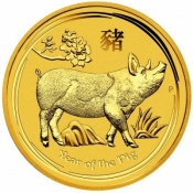 Zlatá mince Rok vepře, Lunární serie II. 1/10 oz 2019