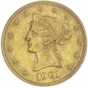 Zlatá mince 10 dolarů Liberty (novoražba)