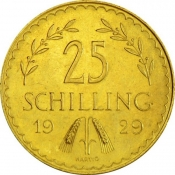 Zlatá mince 25 Schilling (novoražba)